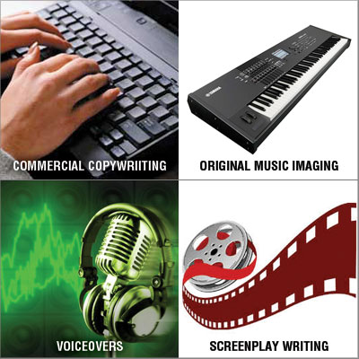 specializing in commercial copywriting, creative script writing, voiceovers, and music imaging